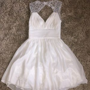 Short white dress with sequence straps, size 1/2